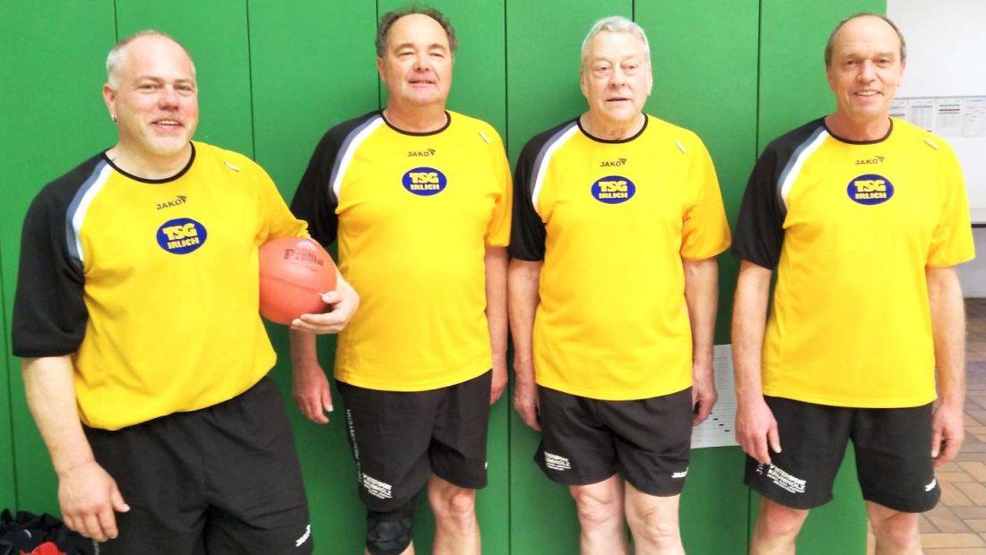 Die Spieler der TSG Irlich beim Turnier des ATV Bonn: v.l.n.r. Patrick Hoffmann, Dietmar Weber, Klaus Pinhammer und Michael Müllhöfer
