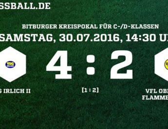 Bitburger Kreispokal 1. Runde: TSG Irlich II - VfL Oberlahr/Flammersfeld II