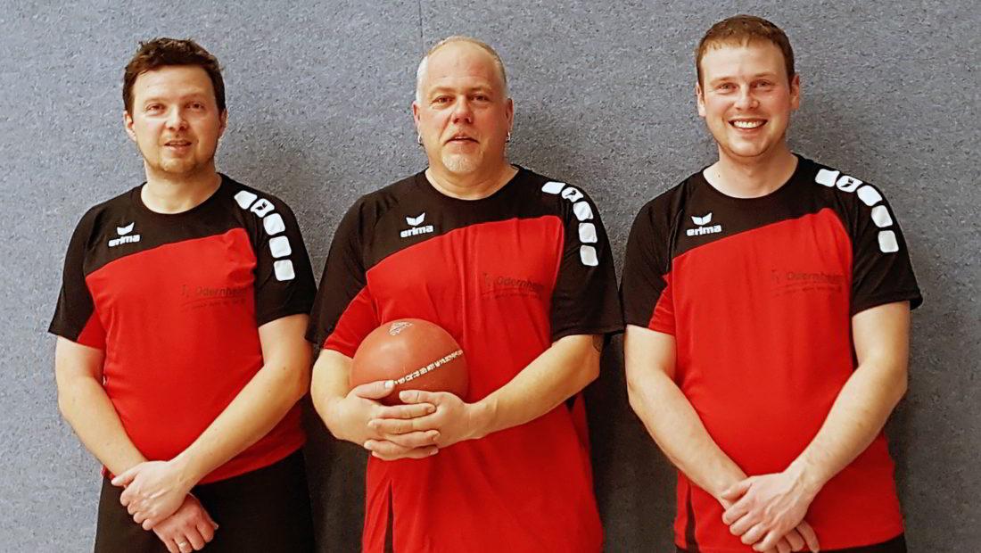 Die Spielgemeinschaft der TSG Irlich und des TV Odernheim bei den mitteldeutschen Prellballmeisterschaften 2018. v.l.n.r Eric Beck, Patrick Hoffmann und Simon Euler