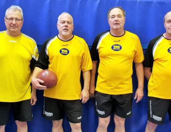 Die Prellballer der TSG Irlich nach dem zweiten Platz: v.l.n.r. Reiner Wolf, Patrick Hoffmann, Dietmar Weber und Michael Mülhöfer