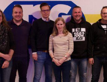 Der Vorstand der TSG Irlich v.l.n.r.: Melanie Klein (AL Breitensport), Philipp Pfeiffer (Presse- & Öffentlichkeitsarbeit), Alexander Hof (Vorsitzender), Melina Dinter (Verwaltung), Torsten Schug (AL Fußball) & Rene Linn (Finanzen)